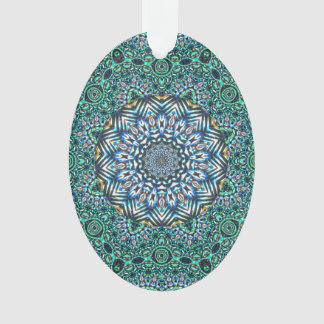 Turquoise Kaleidoscopic Mosaic Reflections Design Ornament