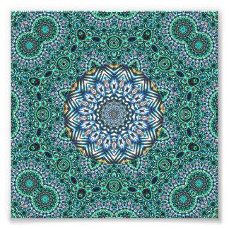Turquoise Kaleidoscopic Mosaic Reflections Design Photo Art