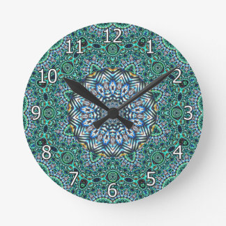 Turquoise Kaleidoscopic Mosaic Reflections Design Round Clock