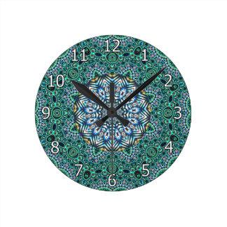 Turquoise Kaleidoscopic Mosaic Reflections Design Round Clock
