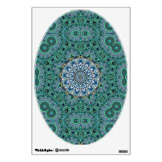 Turquoise Kaleidoscopic Mosaic Reflections Design Wall Sticker