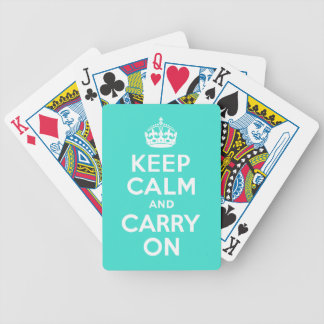 Turquoise Keep Calm and Carry On Bicycle® Playing  Bicycle Playing Cards