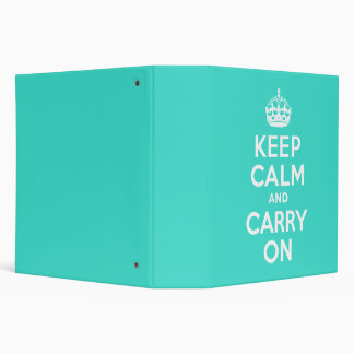 Turquoise Keep Calm and Carry On Binder