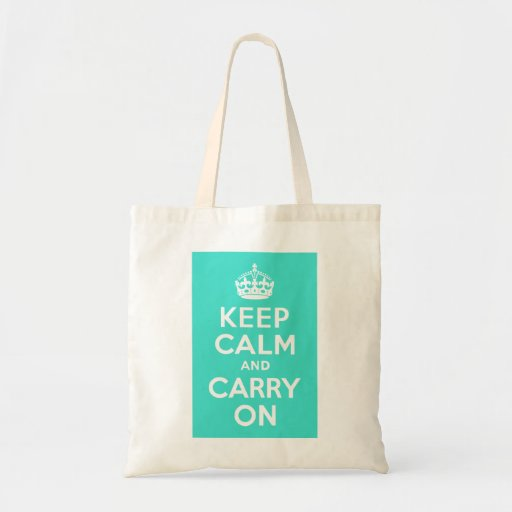 Turquoise Keep Calm and Carry On Budget Tote Bag