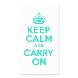 Turquoise Keep Calm and Carry On Business Card Template