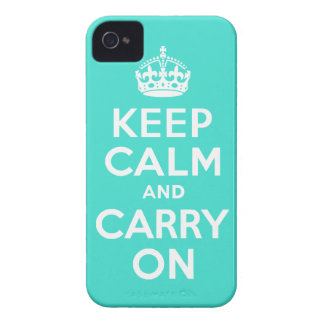 Turquoise Keep Calm and Carry On iPhone 4 Cases