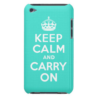 Turquoise Keep Calm and Carry On Barely There iPod Cover