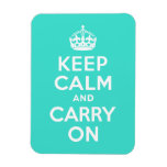 Turquoise Keep Calm and Carry On Flexible Magnets