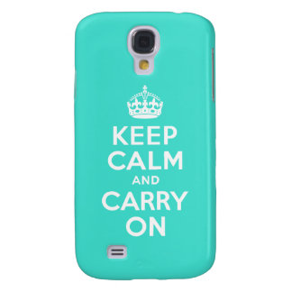 Turquoise Keep Calm and Carry On Galaxy S4 Cover