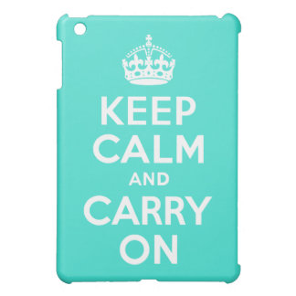 Turquoise Keep Calm and Carry On iPad Mini Cases