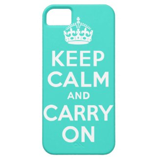Turquoise Keep Calm and Carry On Iphone 5 Case