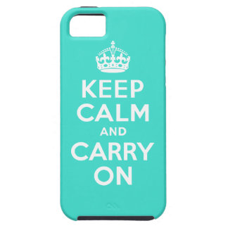 Turquoise Keep Calm and Carry On iPhone SE/5/5s Case