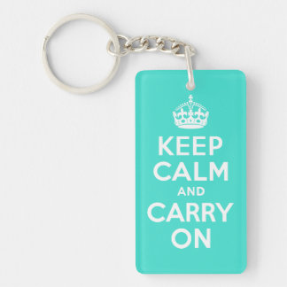 Turquoise Keep Calm and Carry On Key Chain Acrylic Key Chain