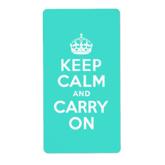 Turquoise Keep Calm and Carry On Personalized Shipping Labels