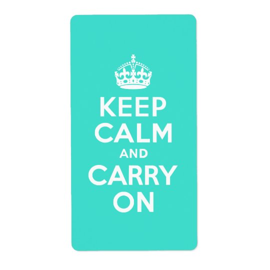 Turquoise Keep Calm and Carry On Label