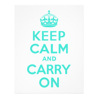 Turquoise Keep Calm and Carry On Personalized Letterhead