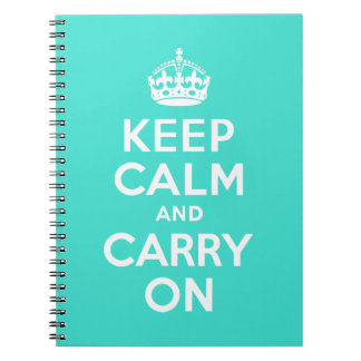 Turquoise Keep Calm and Carry On Note Books