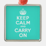 Turquoise Keep Calm and Carry On Christmas Ornaments