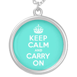 Turquoise Keep Calm and Carry On Silver Plated Necklace