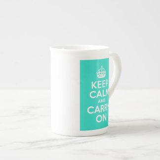 Turquoise Keep Calm and Carry On Specialty Mug Bone China Mug