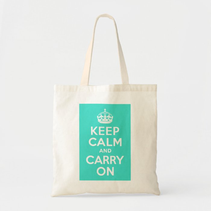 Turquoise Keep Calm and Carry On Tote Bag