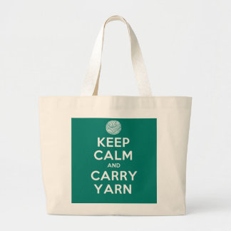 Turquoise Keep Calm and Carry Yarn Large Tote Bag