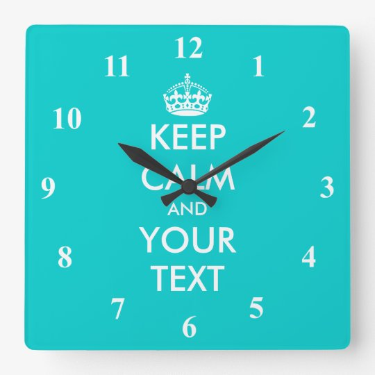 Turquoise Keep Calm wall clock with numbers