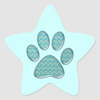 turquoise kitty paw print star sticker