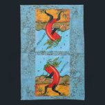 """Turquoise Kokopelli Chili Chile Pepper Fun Towel<br><div class=""""desc"""">My original,  copyrighted painting of &quot;Kokochile&quot; depicts this new southwest icon dancing and playing a flute. The artwork is bordered with a closeup photo of actual turquoise.</div>"""