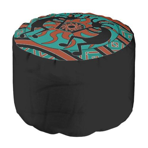 Turquoise Kokopelli Southwestern Design Ottoman