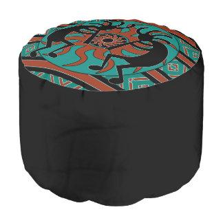 Turquoise Kokopelli Southwestern Design Ottoman Round Pouf