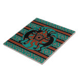 """Turquoise Kokopelli Tribal Sun Southwest Tile<br><div class=""""desc"""">Southwest Kokopelli design turquoise ceramic tile. For more southwest ceramic tiles visit the rest of this shop!</div>"""