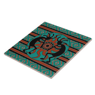 Turquoise Kokopelli Tribal Sun Southwest Ceramic Tiles