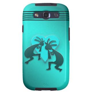 Turquoise Kokopellis with Heart Samsung Galaxy SIII Case