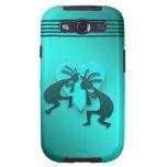 Turquoise Kokopellis with Heart Galaxy S3 Cases