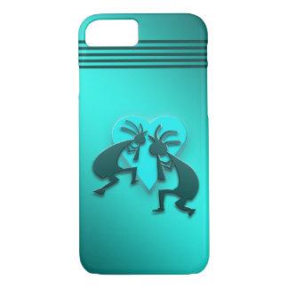 Turquoise Kokopellis with Heart iPhone 8/7 Case