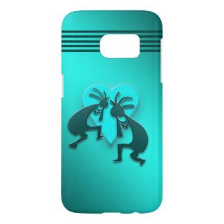 Turquoise Kokopellis with Heart Samsung Galaxy S7 Case