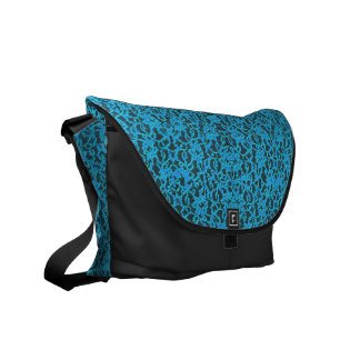 Turquoise Lace Look Messenger Bag