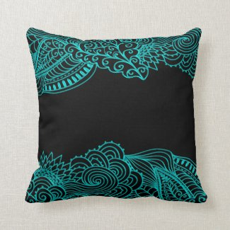 Turquoise Lace On Black Or Any Color Throw Pillow