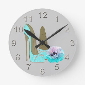 Turquoise Lace Stiletto Shoes and Rose Art Round Clock