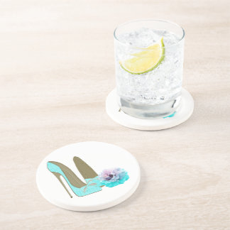 Turquoise Lace Stiletto Shoes and Rose Art Sandstone Coaster