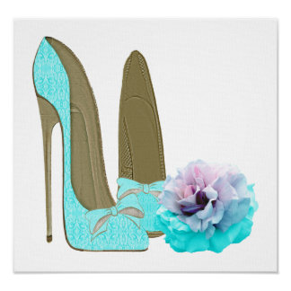 Turquoise Lace Stilettos and Rose Art Poster