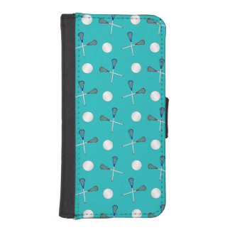 Turquoise lacrosse pattern iPhone 5 wallet