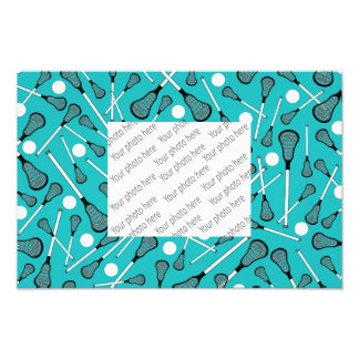 Turquoise lacrosse sticks pattern photographic print