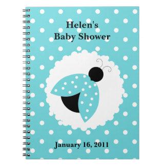 Turquoise Ladybug Baby Shower Notebook