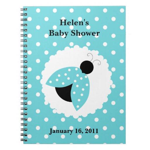 turquoise ladybug baby shower notebook zazzle