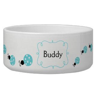 Turquoise Ladybugs Custom Pet Bowl