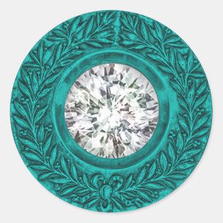 Turquoise Laurel Wreath and Diamond Envelope Seal Round Stickers