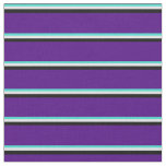 [ Thumbnail: Turquoise, Lavender, Black & Indigo Pattern Fabric ]
