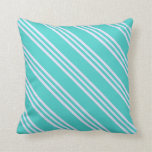 [ Thumbnail: Turquoise & Lavender Colored Lines Throw Pillow ]